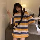 長款上衣 夏季網紅韓版寬鬆下衣消失中長款學生條紋短袖T恤女ins潮 晶彩 99免運