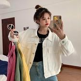 秋季韓版2020新款寬鬆短款白色棒球服學生工裝長袖牛仔夾克外套女 設計師生活百貨