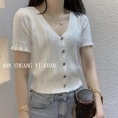 2021夏季新款韓版V領短款修身露肚臍開衫上衣冰絲針織衫短袖t恤女 童趣屋 免運