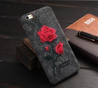 [24hr 火速出貨] 蘋果 iphone i6 6s 刺繡款玫瑰花手機保護殼 玫瑰花手機殼 保護殼 防摔 硬殼