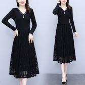 大碼長袖洋裝 L-5XL長袖黑色蕾絲秋裝連身裙女秋季針織裙子中長款H319-A 胖妹