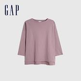 Gap女裝 簡約風格厚磅純色圓領長袖T恤 656453-藕粉色