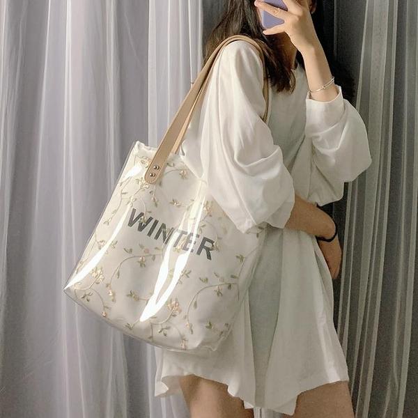 手提包包女2021夏季新款潮韓版百搭側背包大容量托特包果凍透明包 伊蘿 618狂歡