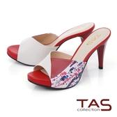 TAS撞色羊皮高跟涼拖鞋-熱情紅
