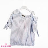 【SHOWCASE】甜美單露肩領雙條紋短袖造型襯衫(藍)