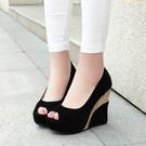 中大尺碼女鞋 春秋女士坡跟鞋魚嘴鞋高跟鞋坡跟涼鞋早春新款涼鞋黑色高跟鞋夏天