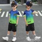 男童套裝男童套裝夏款新款韓版中大童洋氣兩件套夏季兒童短袖薄款套裝 快速出貨