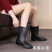 中大尺碼中筒雨鞋女雨靴成人防滑膠鞋水靴加絨平底套鞋防水鞋韓版 DJ525『毛菇小象』