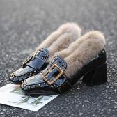 英倫毛毛鞋女新款冬外穿網社會紅韓版高跟鞋女粗跟加絨中跟豆豆鞋洛麗的雜貨鋪