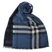 BURBERRY經典格紋漸層色羊毛絲綢圍巾(軍服藍色)089530-8