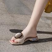粗跟涼拖鞋女外穿百搭平底一字拖時尚中跟拖鞋潮【貼身日記】