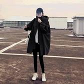 中長款外套 黑色風衣女中長款正韓寬鬆氣質女神范設計感休閒外套春秋-Ballet朵朵