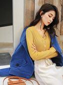歐貨純色V領打底衫上衣秋冬季2019新款衣服韓版寬鬆內搭長袖t恤女