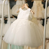 女童公主裙韓夏寶寶禮服小女孩連身裙白紗裙超仙洋氣兒童裙子