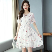 依Baby 洋裝 碎花雪紡連身裙女新款夏韓版中長款收腰顯瘦喇叭袖小清新裙
