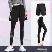 健身褲女速干大碼胖mm高彈瑜伽服緊身跑步運動套裝打底短褲200斤 朵拉朵衣櫥