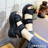 厚底涼鞋 厚底涼鞋女士網紅百搭增高搖搖鞋高跟鞋鬆糕鞋小碼  『名購居家』