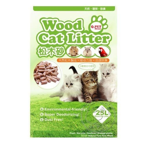 【培菓幸福寵物專營店】(免運)Q.PET Wood Cat Litter 松木砂25L 貓/小動物不能與其他商品合併