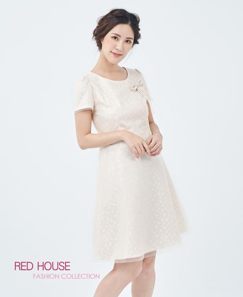 【RED HOUSE 蕾赫斯】閃亮蝴蝶結紗洋裝(金色)