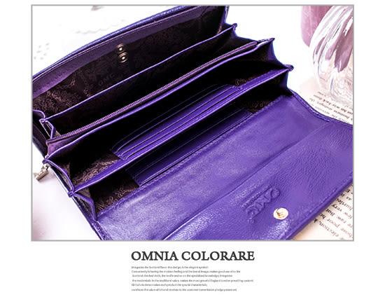 OMC - 專櫃立體抓皺感多卡零錢式真皮長夾-質感黑