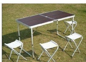 鋁合金折疊桌 可升降 帶四個凳子
