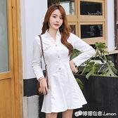 秋裝新款小個子白色長袖牛仔洋裝女名媛氣質收腰顯瘦大擺a字裙 雙十一全館免運