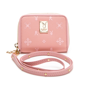 PLAYBOY-  零錢包附長背帶 Floral花漾系列 -粉膚色
