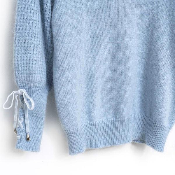 3折出清[H2O]含兔毛20%V領復古大泡袖甜美風袖口綁帶設計針織毛衣 - 白/灰/淺藍色 #8630005