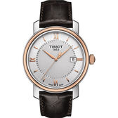 TISSOT 天梭 Bridgeport 寶環系列經典石英手錶-銀x玫瑰金框/40mm T0974102603800
