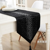 桌巾歐式布藝餐桌旗餐旗美式現代簡約黑色茶幾旗裝飾電視櫃桌布蓋布巾
