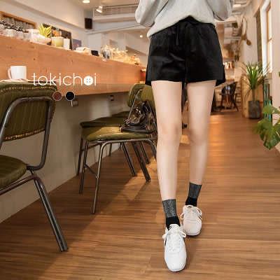 東京著衣-質感絨布微開岔腰身綁帶短褲-S.M.L(172358)
