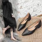 皮鞋 百搭瓢鞋女春黑色皮鞋女空姐工作鞋職業平底小跟單鞋女3cm 【韓國時尚週】