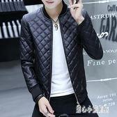 中大尺碼長袖男皮衣 外套韓版皮夾克修身帥氣皮衣棒球服秋裝 nm12363【甜心小妮童裝】
