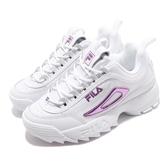 Fila 鋸齒鞋 Disruptor II Script US 白 紫 女鞋 老爹鞋 運動鞋 韓系【PUMP306】 5C608T153