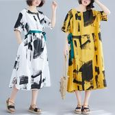 洋裝 連身裙墨染印花不規則系腰帶高腰短袖大擺裙A版百搭棉麻側開叉連衣裙