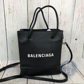 BRAND楓月 BALENCIAGA 巴黎世家 528655 黑色真皮 迷你 購物包 斜背包 手提包