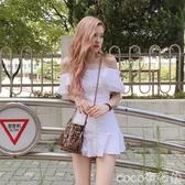 一字肩連身裙女韓國明星同款襯衫小個子香風氣質收腰迷你短裙 618購