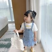 女童 拚接紗裙牛仔裙 吊帶裙 洋裝 牛仔裙 裙子 連身裙 窄裙 女童 小童 橘魔法 現貨