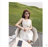 夏裝新款性感露背sukol少女短裙氣質白色禮服吊帶連衣裙女夏