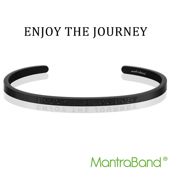 Mantraband | ENJOY THE JOURNEY 尋找快樂 享受旅程 - 悄悄話霧面黑手環 台灣官方總代理