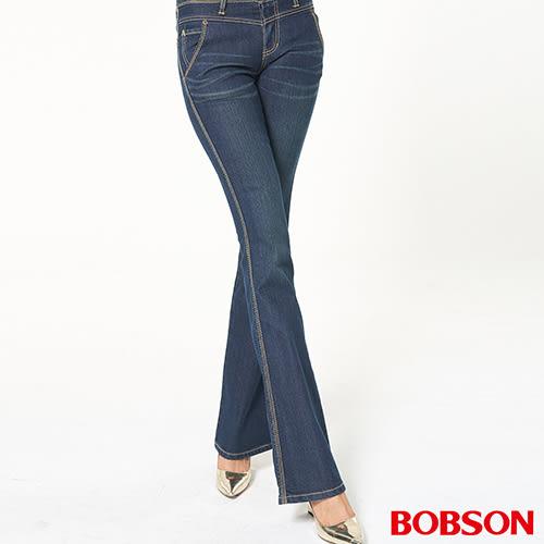 BOBSON 女款低腰伸縮小喇叭褲939-77