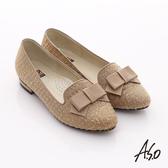 A.S.O 典雅舒適 金蔥網格蝴蝶結飾低跟樂福鞋 卡其色