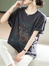 上衣大碼L-4XL半短袖t恤女夏季寬松歐貨時尚燙鉆體恤衫上衣潮D303依佳衣