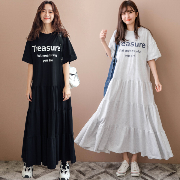 MIUSTAR Treasure英字膠印寬鬆棉質洋裝(共2色)【NJ2088】預購