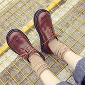 復古圓頭學院風小皮鞋平底軟妹單鞋春夏英倫女鞋百搭