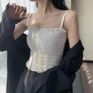 白色吊帶小背心女夏季外穿網紅性感修身無袖上衣內搭chic打底衫潮