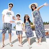 海邊度假親子裝夏裝新款全家裝母女裝波西米亞風長裙沙灘裙連身裙