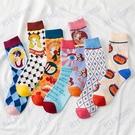 春夏新款個性人物插畫頭像男女襪學院風中筒襪ins潮襪