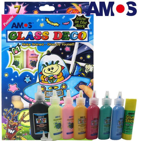 【韓國 AMOS】 7色夜光玻璃彩繪 (台灣 總代理 公司貨) 美勞玩具 才藝教室 親子餐廳 親子館 飯店