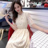 VK旗艦店 韓國風名媛蕾絲蝴蝶結淑女長版短袖洋裝